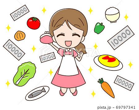 お金で食料品を買う主婦 69797341