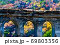 色づく山肌と廃橋の風景です。淋しさを感じさせます。広島県 69803356