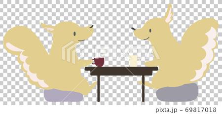一隻松鼠泡茶的插圖 69817018