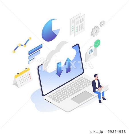 パソコンで仕事をしているビジネスパーソンのイラスト素材 69824958