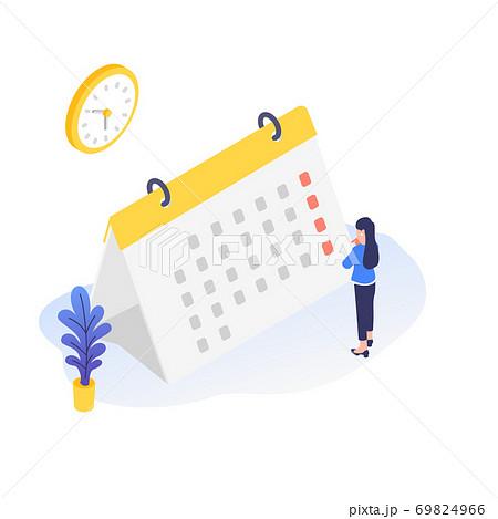 カレンダーを見て予定を確認しているビジネスパーソンのイラスト素材 69824966