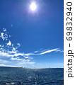 愛媛県松山市梅津寺からの海と太陽 69832940