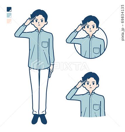 simple Stand collar shirt man_salute 69834135