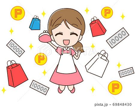 お金とポイントと買い物をする主婦 69848430