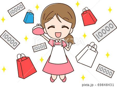 お金で買い物をする主婦 69848431
