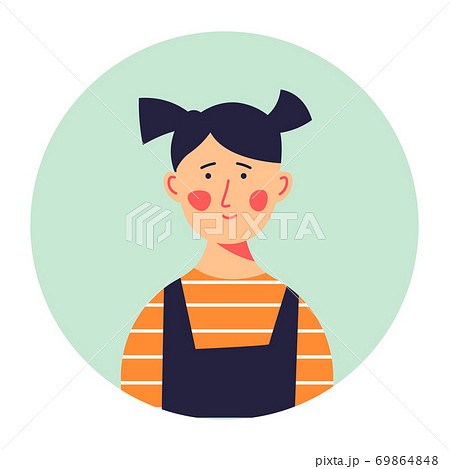 Small girl with ponytails portrait of kid vector 69864848