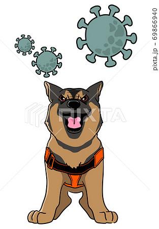 検疫探知犬のイメージイラスト - シェパード 69866940