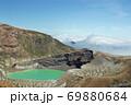 エメラルドグリーンの蔵王山の御釜と青空に広がる雲海 69880684