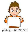 パネルを持った人物のイラスト/若い男性 69890225