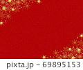 雪の結晶 背景 赤 金粉 69895153