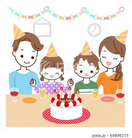 誕生日会をする家族 69896255