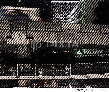 バンコク中心部のBTSスカイトレインを俯瞰したイラスト 69898387