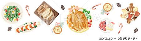 クリスマスパーティーの食卓風景水彩イラスト 69909797