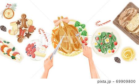 クリスマスパーティーの食卓風景水彩イラスト 69909800
