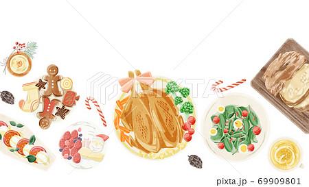 クリスマスパーティーの食卓風景水彩イラスト 69909801