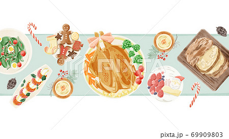 クリスマスパーティーの食卓風景水彩イラスト 69909803