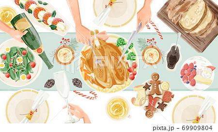 クリスマスパーティーの食卓風景水彩イラスト 69909804