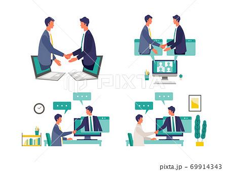 オンライン商談のイメージイラスト 69914343