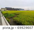 稲刈り前の田園の向こうに建築工事中の大型ショッピングセンター 69929607
