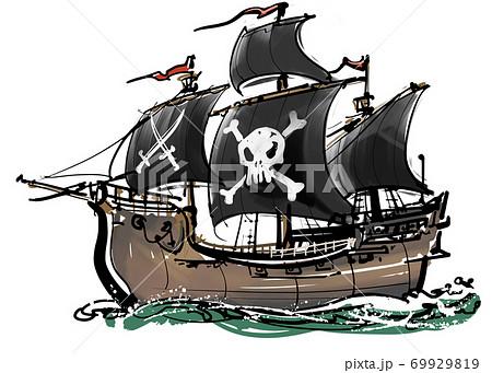 墨絵-海賊船 69929819