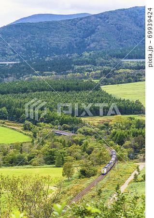 増田山から見た特急おおぞら(261系) 北海道新得町 69939424