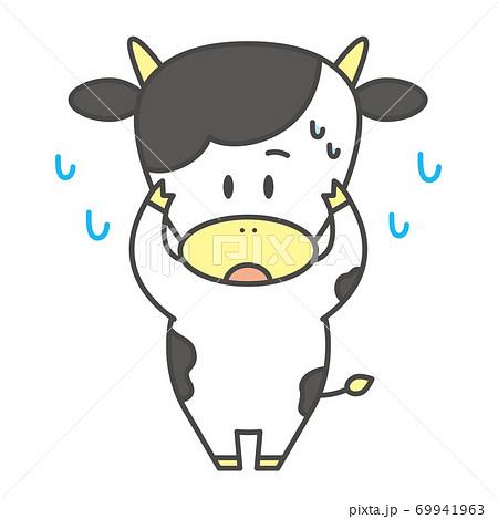 牛のキャラクター 基本ポーズ 困る 69941963