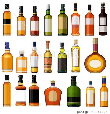 イラスト素材 ウイスキー 酒セット 洋酒 ロック アルコール アイコン ベクター 69947992