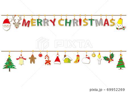 クリスマス素材 アップリケ風文字 MERRY CHRISTMAS ガーランド 69952269