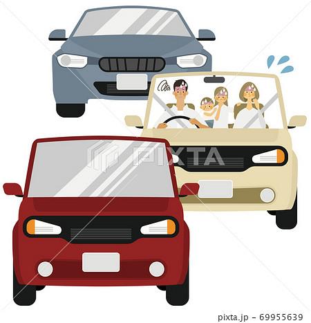 4人家族が渋滞で困っているイラスト 69955639