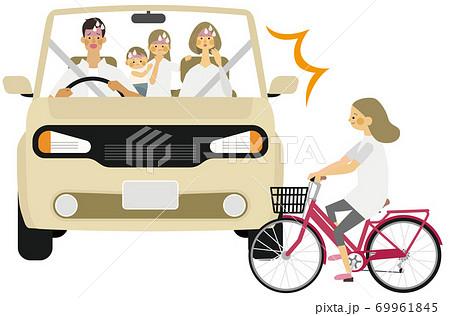 車と子供の自転車との事故イラスト 69961845