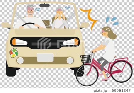 帶有老人標記和兒童自行車的汽車事故插圖 69961847