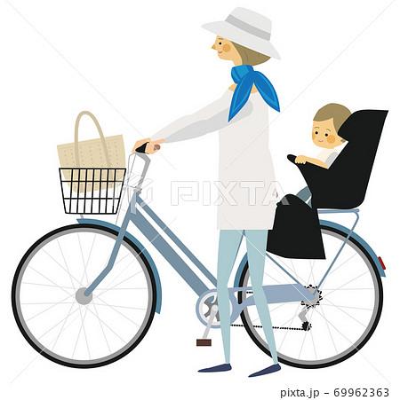 2人乗りの自転車おす母親のイラスト 69962363