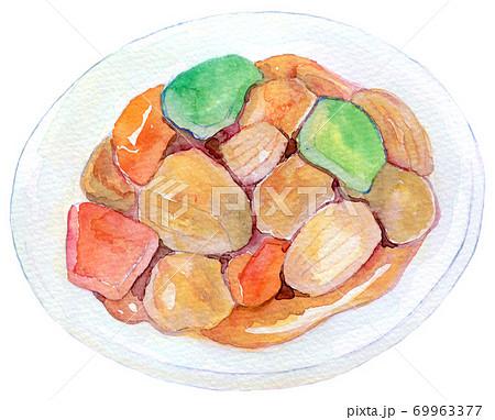 水彩イラスト 食品 酢豚 69963377