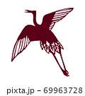 鶴のシンプルなシルエット素材 69963728