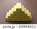 金の延べ棒 ゴールドバー CGイメージ 69966621