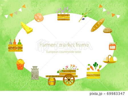 お洒落なファーマーズマーケットのフレーム 水彩テクスチャ 69983347