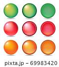 3タイプ3色のアイコンとボタンのグラフィック素材のセット 69983420