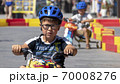 Child drives an electric car. Go-karts for children. 70008276