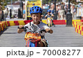 Child drives an electric car. Go-karts for children. 70008277