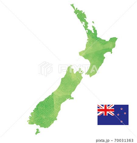 ニュージーランド 地図 国旗 70031363