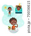 black boy brushing teeth illustration 70036615