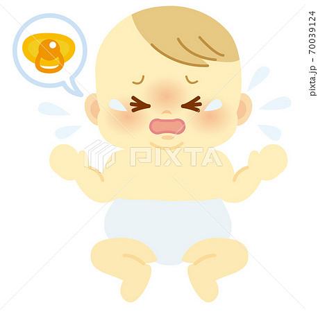 おむつ姿でおしゃぶりが欲しくて泣く表情の赤ちゃん_ベビー全身イラスト65 70039124
