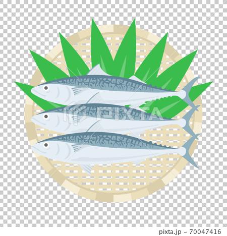 鯖魚在漏勺上的插圖 70047416