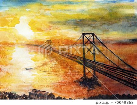 鳴門観潮 本四連絡橋の夕陽 鳴門海峡の夕陽 70049868