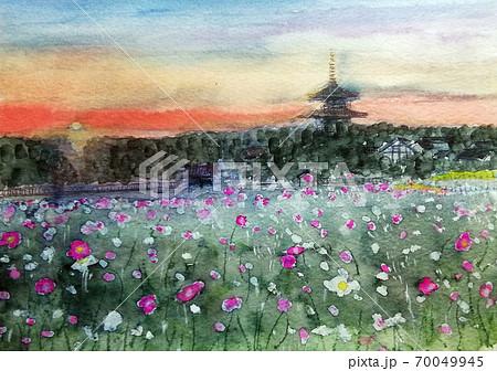 法起寺 奈良観光 三重塔 夕陽 世界遺産 斑鳩 70049945