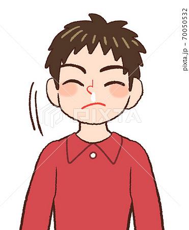 鼻水をすする男の子供のイラスト 70050532