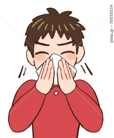 鼻をかむ男の子供のイラスト 70050534