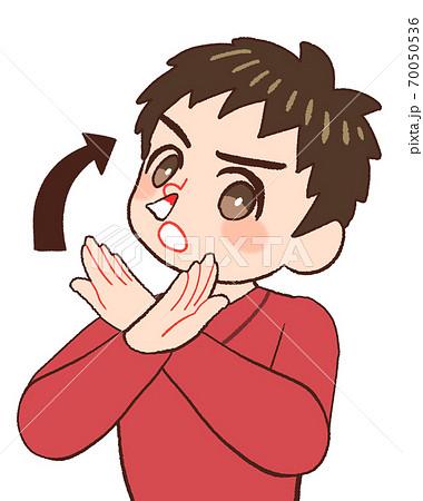鼻血のときに上を向く間違った対応にダメ出しする男の子供のイラスト 70050536