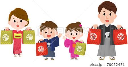 初売りセールで福袋を買う家族 イラスト 70052471