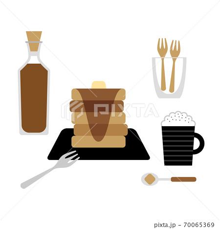 シロップをたっぷりかけたホットケーキのイラスト 70065369